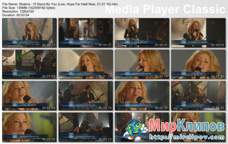 Shakira - I'll Stand By You (Live, Hope For Haiti Now, 22.01.10)