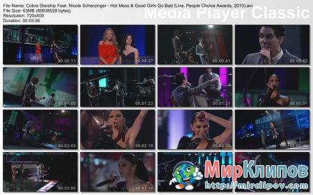 Cobra Starship Feat. Nicole Scherzinger - Hot Mess & Good Girls Go Bad (Live, People Choice Awards, 2010)