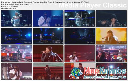 Lil Wayne Feat. Eminem & Drake - Drop The World & Forever (Live, Grammy Awards, 2010)
