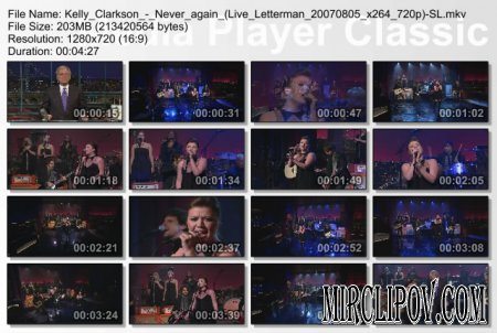 Kelly Clarkson - Never again (Live Letterman 2007)