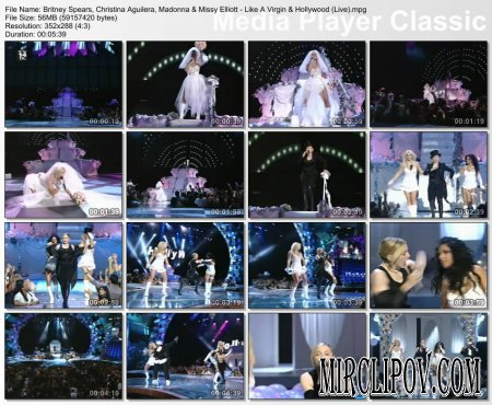 Madonna Feat. Britney Spears, Christina Aguilera & Missy Elliott - Like A Virgin & Hollywood (Live)