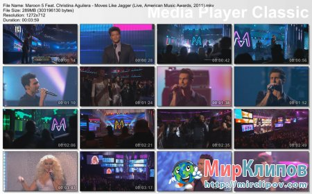 Maroon 5 Feat. Christina Aguilera - Moves Like Jagger (Live, American Music Awards, 2011)