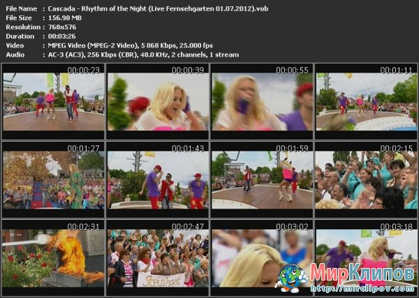 Cascada - Rhythm Of The Night (Live, ZDF Fernsehgarten, 01.07.2012)